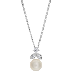 Sterling Silver Cubic Freshwater Pearl and Zirconia Pendant