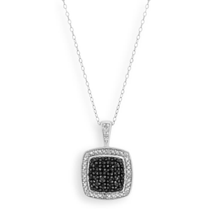 Black Diamond Sterling Silver Diamond Square Pendant With 45cm Chain