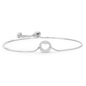 Sterling Silver Fancy Heart Adjustable Bracelet