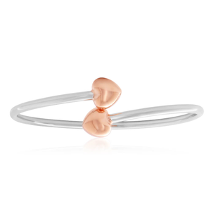 Sterling Silver Rose Gold Plated Fancy Heart Torque Flexible Bangle