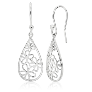 Sterling Silver Fancy Flower Drop Earrings