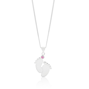 Sterling Silver Pink Cubic Zirconia Baby Feet Pendant With 40 + 5cm Chain