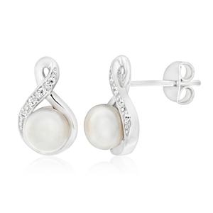 Sterling Silver Rhodium Plated Cubic Zirconia + Pearl Stud Earrings