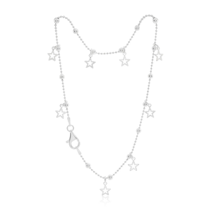 Sterling Silver Fancy Charm Stars Anklet