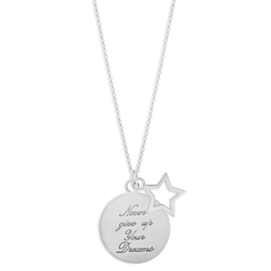 Sterling Silver Star and Round Disc Pendant With 45cm Chain