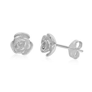Sterling Silver Tiny Rose Stud Earrings