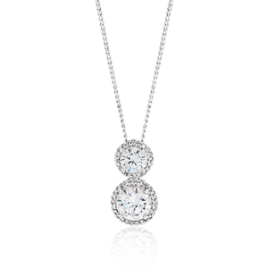 Sterling Silver Rhodium Plated Cubic Zirconia Double Round Pendant