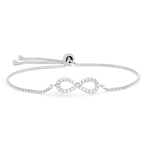 Sterling Silver Rhodium Plated Cubic Zirconia Infinity Slider Bracelet