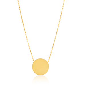 Gold Plated Sterling Silver Plain Round Disk Pendant With 40 + 2.5cm Chain