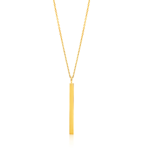 Gold Plated Sterling Silver Plain Vertical Bar Pendant With 43cm Chain