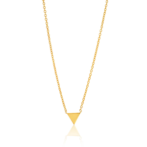 Gold Plated Sterling Silver Plain Triangle Pendant With 45cm Chain