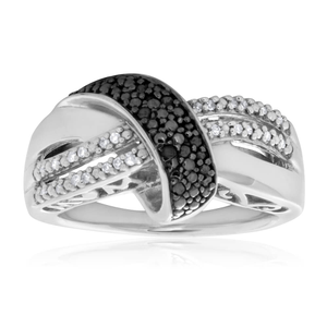 Black Diamond Sterling Silver Loop Diamond Ring (TW=10pt)