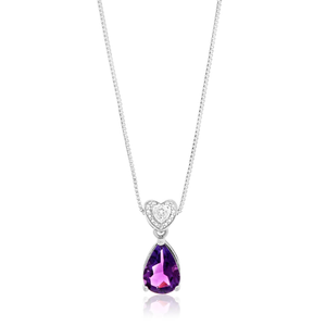 Sterling Silver Amethyst + Diamond Pendant With Chain