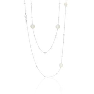 Sterling Silver Simulated Pearl Chain