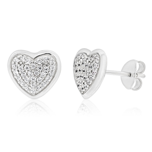 Sterling Silver Rhodium Plated Cubic Zirconia Pave Heart Stud Earrings