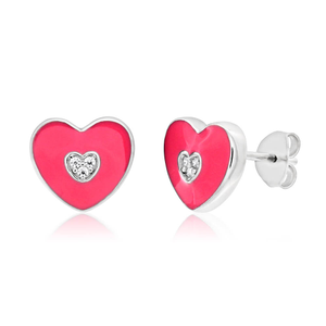 Sterling Silver Rhodium Plated Cubic Zirconia Heart Stud Earrings
