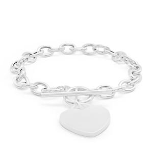 Sterling Silver Fancy Heart Charm Toggle Bracelet