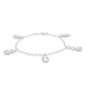 Sterling Silver Cubic Zirconia Charm Girl 19cm Bracelet