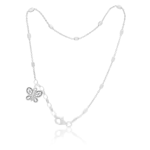 Sterling Silver Cubic Zirconia Charm Butterfly 26cm Anklet