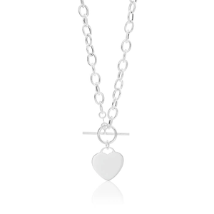 Sterling Silver Fancy Heart Charm Toggle Closure Chain 45cm