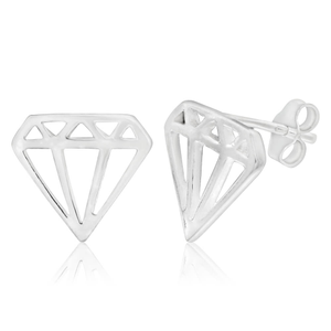 Sterling Silver Fancy Diamond Shaped Cutout Stud Earrings