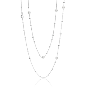 Sterling Silver Simulated Pearl + Zirconia Chain