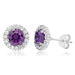 Sterling Silver Rhodium Plated Purple Zirconia + White Zirconia Stud Earrings