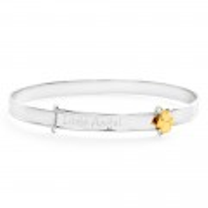Sterling Silver Gold Plated Little Angel Expandable Baby Bangle