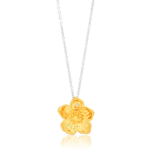 Hot Diamond Gold Plated Sterling Silver Diamond Buttercup Pendant With Chain