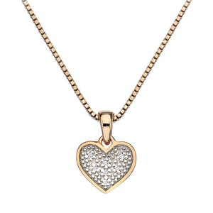 Hot Diamond Gold Plated Sterling Silver Diamond Stargazer Heart Pendant With Chain