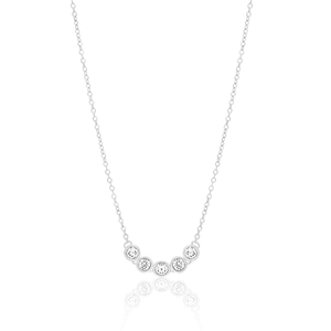 Sterling Silver Rhodium Plated Cubic Zirconia Pendant With 45cm Chain