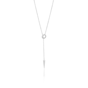 Sterling Silver Rhodium Plated Cubic Zirconia Lariat Spike Chain