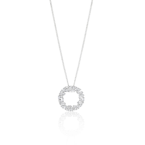 Sterling Silver Rhodium Plated Cubic Zirconia Circle of Life Baguette Pendant