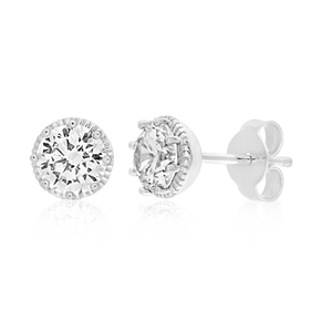 Sterling Silver Rhodium Plated Cubic Zirconia 6mm Round Stud Earrings