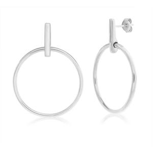 Sterling Silver Rhodium Plated Fancy Hoop Earrings