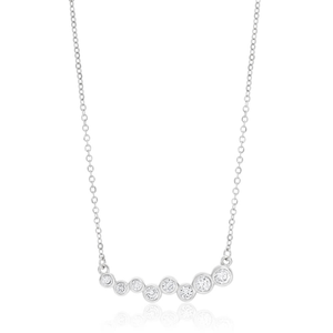 Sterling Silver Rhodium Plated Cubic Zirconia Bezel Set Chain