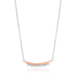 Sterling Silver Rhodium Plated Cubic Curved Bar Zirconia Chain
