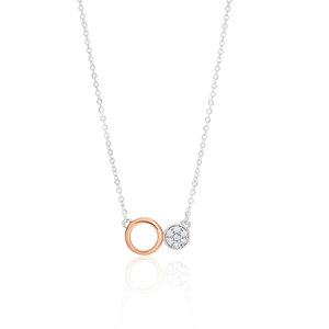 Sterling Silver Rhodium Plated Cubic Double Round Zirconia Chain