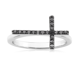 Black Diamond Cross Ring set in Sterling Silver