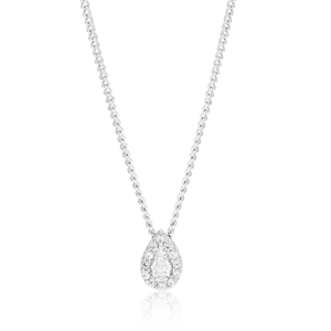 Sterling Silver Cubic Zirconia Pear Shaped Halo Pendant
