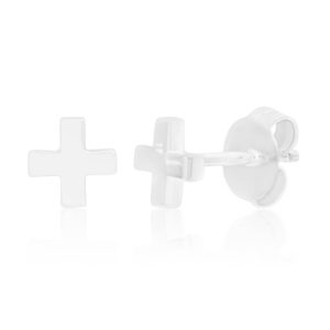 Sterling Silver Plain Criss Cross Stud Earrings