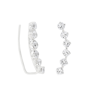 Sterling Silver Zirconia Halo Stud Curve Earrings