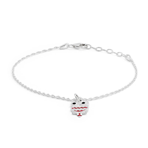 Sterling Silver Fancy Owl Pink & White Bracelet