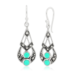 Sterling Silver Created Turquoise Vintage Drop Earrings