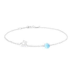 Sterling Silver Blue Topaz Lotus Heart 19cm Bracelet