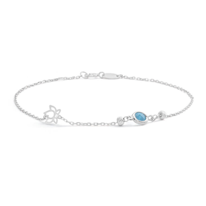 Sterling Silver Blue Topaz Bezel Lotus 19cm Bracelet