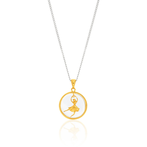 Gold Plated Sterling Silver Fancy Dancing Ballerina Pendant