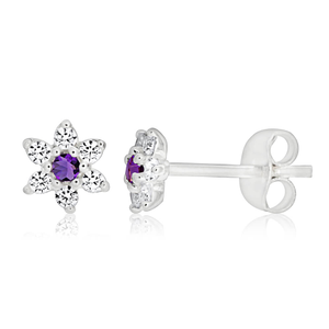 Sterling Silver Amethyst + Cubic Zirconia Flower Stud Earrings