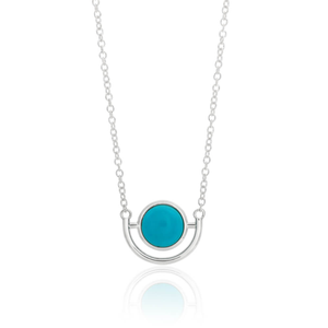 Sterling Silver Created Turquoise Pendant With 45cm Chain