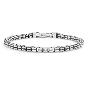 Sterling Silver Box Chain 21cm Bracelet